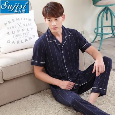 Sujisi men grid pajamas short sleeve trousers large size pure cotton man sleepwear button fashion splicing lapel pyjamas male