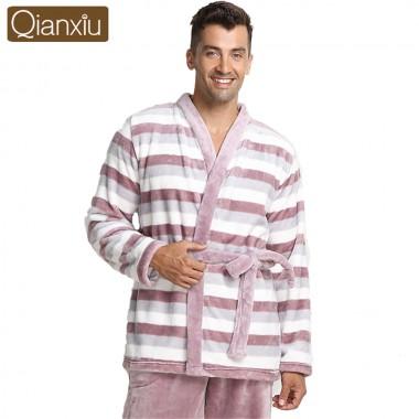 Qianxiu Brand men Pajamas casual Thicken Mink Wool Turn-down Collars striped Lounge Wear For Men Couples Nightwear men robe 2018