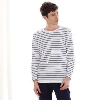 2018 Hot Simple knitted cotton couples pajamas sets men pajama sets Can wear outside stripe men pyjama set Lounge Wear Homewear