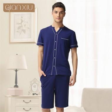 Qianxiu 2018 men Brand Solid Lovers cotton Pajamas Set Fashion Home Apparel Couples Nightwear Pajamas summer Pajamas Suit onesie