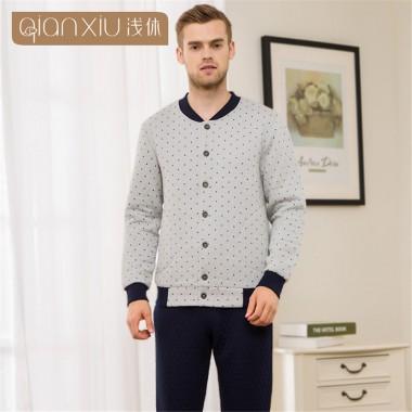 Qianxiu Winter man Pajama Set Lovers Couples Warm Men Pyjamas Pyjama Thickening Polyester Home Wear Clothing Leisure men pajamas