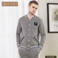 84a8b7ce1b Qianxiu Men s Pajamas Spring Long Sleeve Sleepwear Cotton Cardigan Pyjamas  Simple letters printing design Men Lounge