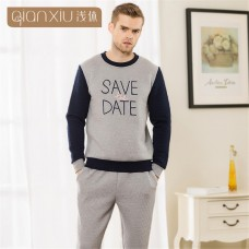 783fcd4d1c Qianxiu 2018 Lovers Pajamas letters printed Men s Pajamas sets round collar  Casual Long Sleeve Clip cotton