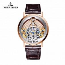 2018 New Reef Tiger/RT Luxury Gear Quartz Watches for Men Genuine Leather Strap Skeleton Watches RGA1958