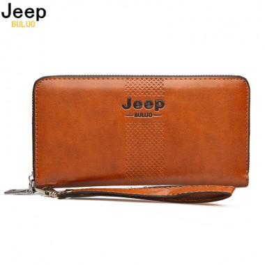 JEEP BULUO Men Clutch Wallets Famous Brand Long Wallet Purse Large Capacity Handbags Clutch Bag For Man pu Leather Fashion A210