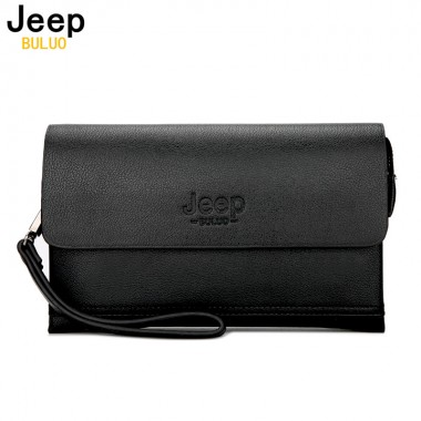 JEEP BULUO Luxury Brand Male Leather Purse Men's Clutch Wallets Handy Bags Business Carteras Mujer handbag Men Black Brown 808-2