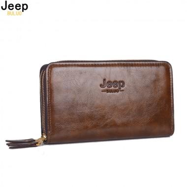 JEEP BULUO Men Wallets Double Zipper Wallets Man Clutch Bag Phone Card Holder Male Purse Men Leather Wallet Purse 1112