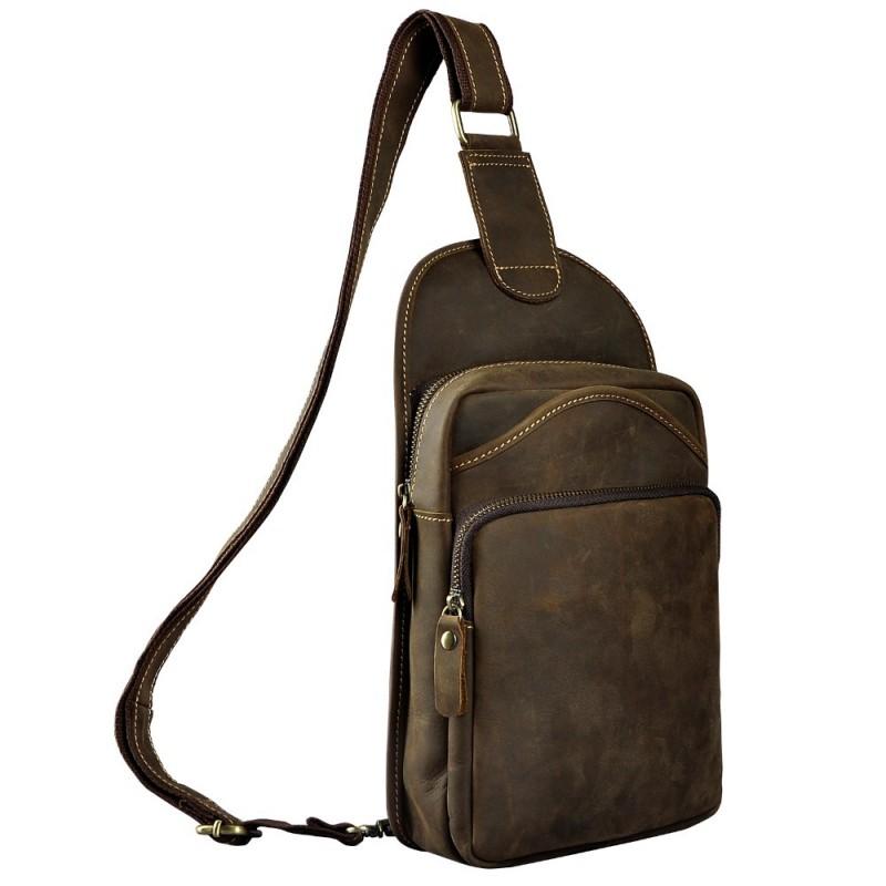 f50682c6ae78 Quality Men Crazy Horse Leather Casual Waist Pack Chest Bag Design Sling  Bag One Shoulder Bag Crossbody Bag For Male 9977