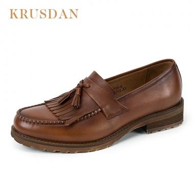 KRUSDAN Brand Genuine Leather Men Casual Shoes,Retro tasseled Slip-on Loafers Mocassins NEW Fashion Men cowhide Flats Shoes