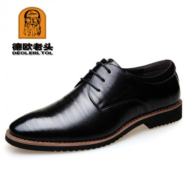 2018 Men's Cow Leather Shoes British style Black Man Dress Shoes 38-44 GentleMan Business Shoes Cowhide Leather Shoes