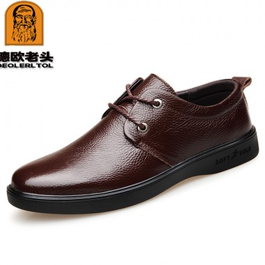 2018 New Men's Genuine Leather Shoes Black Soft Man Dress Shoes Brand Spring Soft Office Man Cowhide Shoes