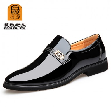 2018 New Men Quality Patent Leather Shoes Pointed toe Bright Black Leather Soft Man Dress Shoes