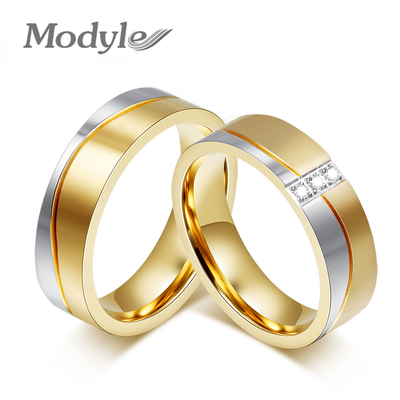Modyle New Fashion Gold Color Wedding Rings For Men And Women Stainless Steel Wedding Rings Only For 1 Piece Price Free Shipping