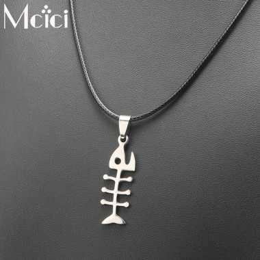 Women Men Stainless Steel Fish Bone Necklaces & Pendants Silver Color Ball Rope Chain Statement Necklace Steampunk Jewelry