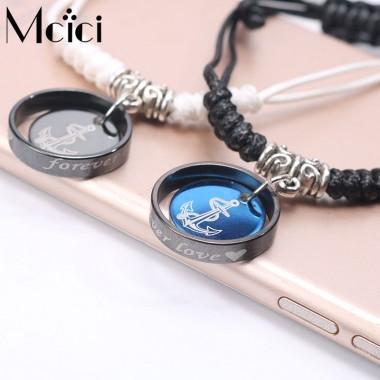 2pc New Fashion Jewelry Black Blue Braided Leather Bracelet Men Stainless Steel Bracelets Bangles De Couro Pulseiras Masculinos