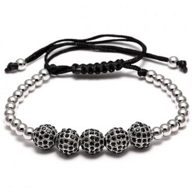 New Charm Ball Bracelets & Bangles Braiding Macrame Men Bracelets Pave Black CZ Ball Connector Jewelry  Beads DIY Men Bracelet