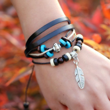 Retro Rope Adjustable Leather Bracelets Men Multilevel Feather Brown Bracelet Bangle Charm Hand Woven Braided Jewelry For Women