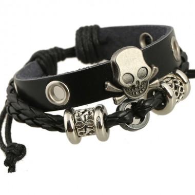 Skull Charms Leather Bracelets for Women Men Wrap Wristband Gothic Punk Bangle Bracelet For Boyfriend & Girlfriend Jewelry Gift