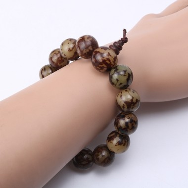 DIA16mm Natural Bodhi Seeds Wooden Beads Bracelet for Men Buddhist Mala Pulseras Hombre Bracciali Men's Charm Bracelets Jewelry