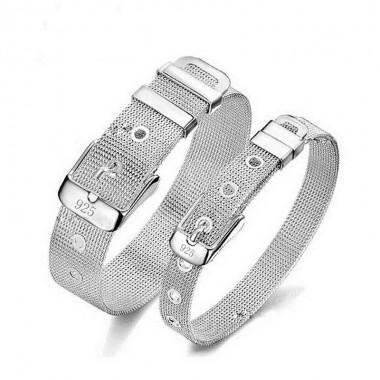 Fashion Wide Statement Belt Silver Plated Bracelet for Women Men Couple Bracelets&Bangles Pulseras Jewelry Valentine's Day Gift