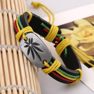 Popular Rasta Hemp Cord Handmade Braided Rope Leather Bracelet & Bangle Leaf Charm Wrap Bracelets Hiphop Jewelry For Men Women