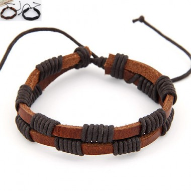 Cool Fashion vintage Double Layer Twisted Leather Bracelet hand-rope strap casual leather bracelet for men & women