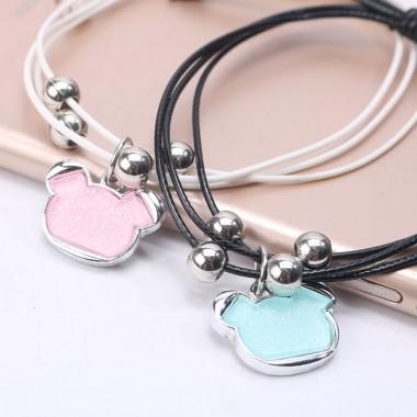 4pcs Romantic Cute Bear Couple Bracelet Lovers Men Women Jewelry Stainless Steel Beauty Metal Bracelets Gifts Pulseira Masculina