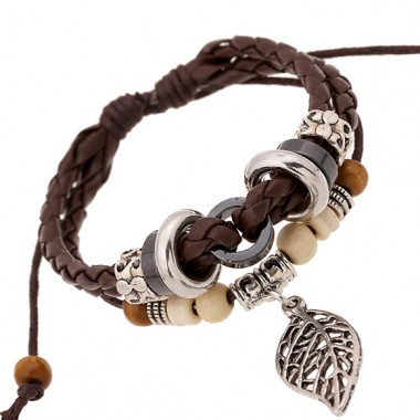 Charms Leather Bracelets & Bangles For Men and Women Alloy Leaf Bracelet Cuff Black and Brown Braided Rope Fashion Man Jewelry