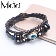 Punk Design Turkish Evil Eye Bracelets Wristband Female PU Leather Bracelet Ethnic Vintage Jewelry For Women Men Bijouterie