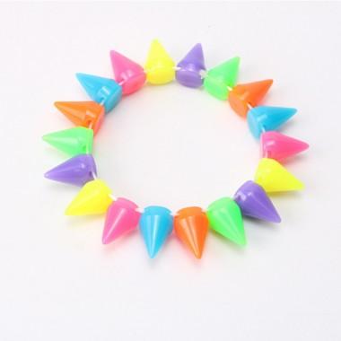 2018 New Designer Punk Roch Candy Color Rivets Elastic Bracelet for women Fluorescent Spike Bracelets Bangle for Man