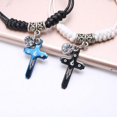 2PCS Handmade Braided Couple Bracelet Crystal Blue Black Cross Beads Bracelets for Women Men Lovers Gifts Pulseira Feminina