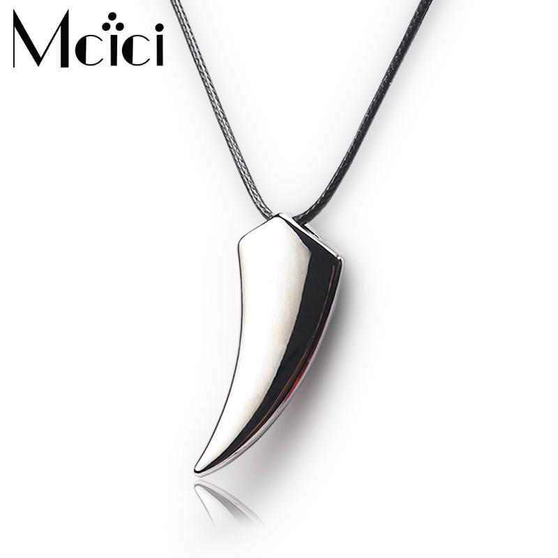 Trendy Men/'s Retro Stainless Steel Titanium Wolf Tooth Pendant Necklace