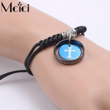 2pcs/lot Lover's Round Cross Bracelets Black and Blue Stainless Steel Jewelry Pulseras Mujer for Women Men Wrap Bracelet Bijoux