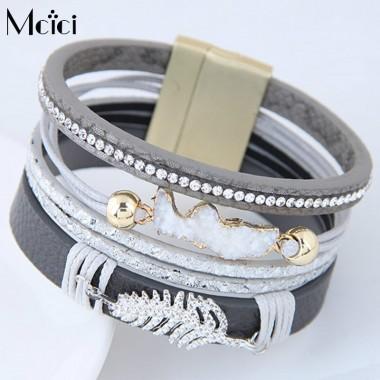 Vintage Alloy Leaves Wide Magnetic Leather bracelets & bangles Multilayer Handmade Bracelets  Unisex Jewelry for Women Men Gift