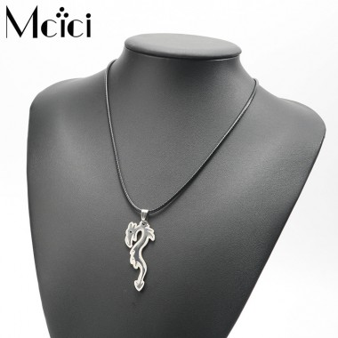 Steampunk Stainless Steel Necklaces Pendant Leather Long Chain for Men Women Animal Statement Necklace Jewelry Girls Party Gifts