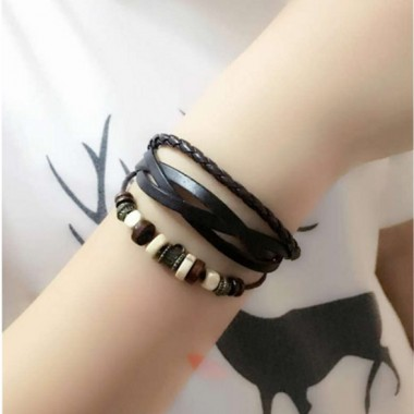 Fashion Leather Bracelet Pulseira Couro Multilayer Bracelets & Bangles Jewelry For Women Men Gift Wristband Pulseira