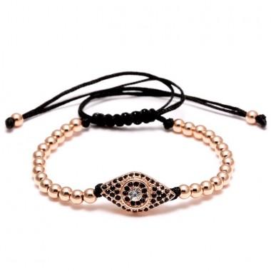 Punk Design Turkish Eye with 4 Colors Copper Beads Bracelets for Men Women Braided Macrame Pave CZ Hand Eye Bracelets