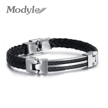 Modyle High quality Real Black Leather Bracelet for Men Stainless Steel Wire Bangle Mens Jewelry
