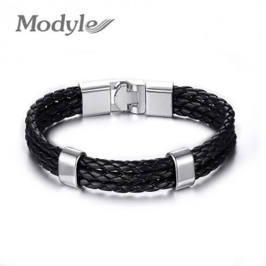Modyle 2018 New Handmade Pulseras Cuero Genuine Black Male PU Leather Bracelets Bangles for Men Friendship Jewelry