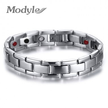 Modyle Health Care Bracelet Bangle Magnet Germanium Stainless Steel Men Jewelry