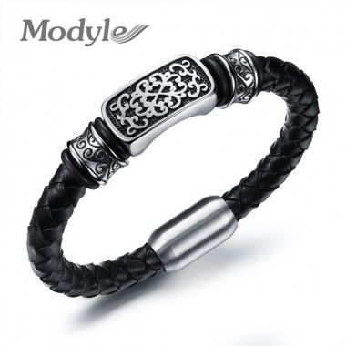 Modyle Handmade Leather Knitted Bangles For Man Rock Style Stainless Steel Decoration Men Jewelry Best Gift For Friends