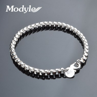Modyle 2018 New Silver Color 4mm Wrist Band Hand Chain Mens Bracelets & Bangles Gift