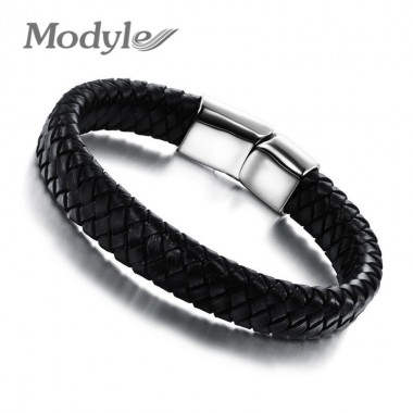 Modyle 2017 Fashion Knitted Genuine Leather Rope Chain Man Bracelets Classical Simple Design Men Jewelry With Magnet Buckle