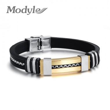 Modyle 2017 New Fashion Men Bracelet Wholesale Gold-Color Charm And Black Silicone Sports Wristband Bracelets For Men Jewelry