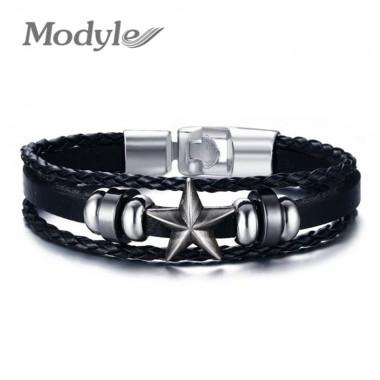 Modyle 2017 Cool Men Genuine Leather Wrap Bracelet Fashion Punk Star Bracelet