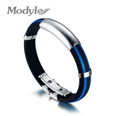 Modyle New Fashion Men Coll Punk Rock Stainless Steel Bracelets & Bangles for Men 5 Colors Silicone Bracelets High Quality