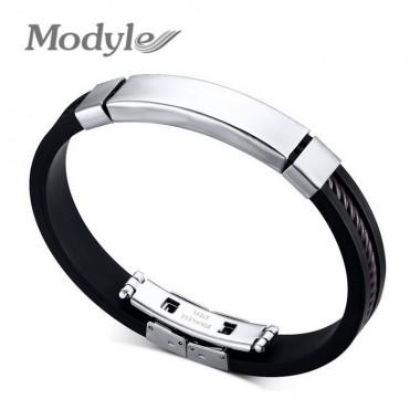 Fashion Men Bracelets Black Silicone& Rubber Bracelets Jewelry Stainless Steel Men Bracelets & Bangles Wholesale