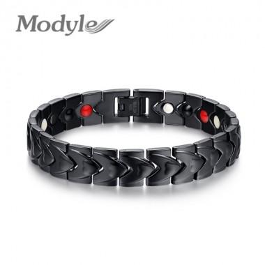 2018 New Men Stainless Steel Bracelet Bangle Black Magnetic Health Chain Men Charm Bracelet Jewelry Wholesale