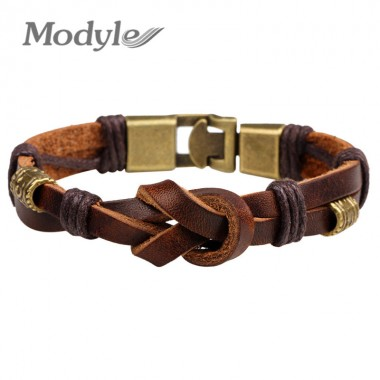 Modyle 2018 New Fashion Vintage Leather Bracelets Bangles Bronze alloy Buckle Classical Style Easy Hook Beacelet For Men