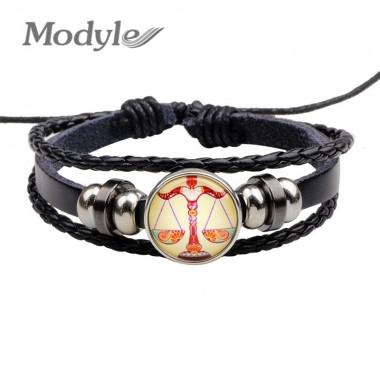Modyle 12 Constellations Bracelet Fashion Jewelry Leather Bracelet Men Casual Personality Zodiac Signs Bracelet